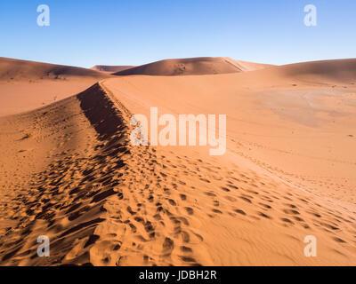 Empreintes sur la façon de Dead Vlei sur le désert du Namib, Namibie. . Banque D'Images