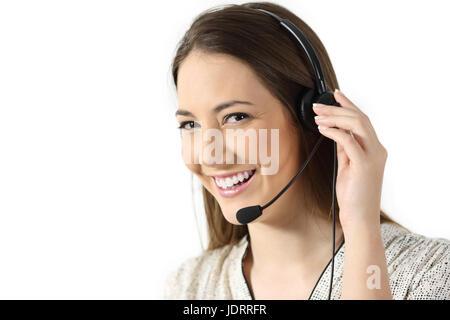 Portrait d'un opérateur de télémarketing vous regarde isolé sur fond blanc Banque D'Images