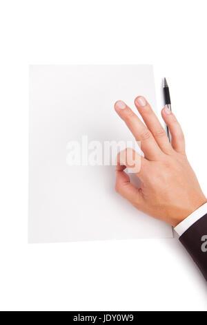 Image de la main de l'affiche OK sur le papier vierge blanc Banque D'Images