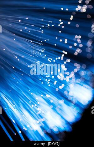 Fibre optique bleu Banque D'Images