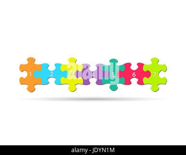 Illustration des pièces de puzzle colorées isolé sur fond blanc. Banque D'Images