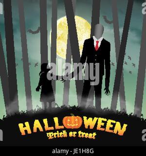 Un homme grand mince halloween avec fille dans la forêt. Banque D'Images