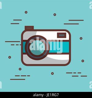 L'icône de caméra bleue et blanche sur fond bleu vector illustration Banque D'Images