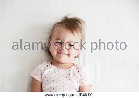 Friendly un an baby smiling Banque D'Images