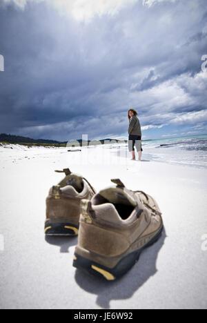 L'Australie, la Tasmanie, la péninsule de Freycinet, sandy beach, 'Plages', chaussures, personne,