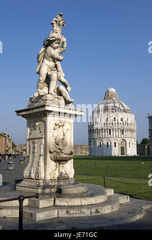 Italie, Toscane, Pise, la Piazza del Duomo, baptistère, bien au premier plan, Banque D'Images
