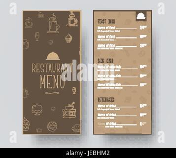 Conception d'un menu restreint pour un restaurant ou un café. Modèle dans le style rétro avec dessins à la main, la position et les prix des plats. Vector illustration