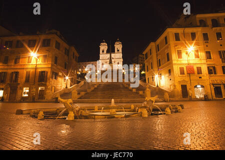 L'Italie, Rome, Piazza Spagna, Tu Fontana della Barcaccia, escaliers espagnols et l'église Santa Trinita dei Monti, Banque D'Images