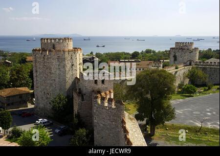 La Turquie, Istanbul, la forteresse de Yedikule, vue sur le Bosphore, Banque D'Images
