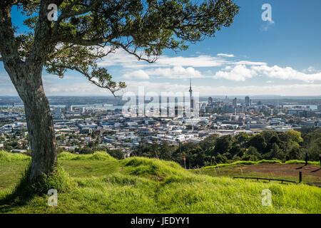 Nouvelle Zélande, île du Nord, le mont Eden, Auckland, paysage urbain Banque D'Images