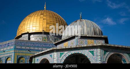 Mont du Temple et Dôme du Rocher, vieille ville de Jérusalem; Jérusalem, Israël Banque D'Images
