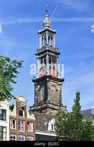 Tour de l'Ouest, le 18 août 2012 à Amsterdam. La tour fait partie de l'Église occidentale. Il se compose de trois Banque D'Images