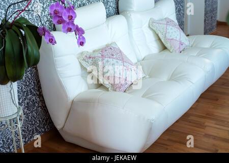 Confortable canapé en cuir blanc moderne dans la chambre Banque D'Images