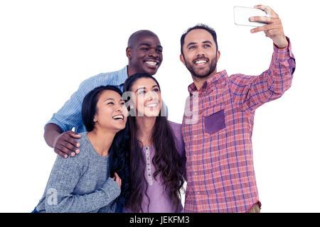 Multi-ethnic friends selfies Banque D'Images