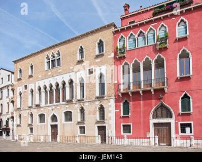 Venise Vénétie Italie. Façade du Palazzo Duodo, construit XV siècle, placée dans Campo Sant'Angelo Sestiere San Banque D'Images