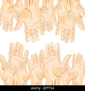 Beaucoup de mains étendues Banque D'Images