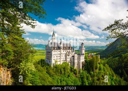 Neuschwanstein, joli paysage d'automne photo panoramique du château de conte de fées près de Munich en Bavière, Banque D'Images