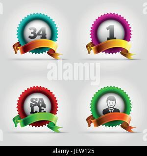 Bannière, étiquette, icône, d'un insigne, vecteur, award, distinction, design, bleu, l'homme, Banque D'Images