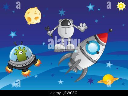 L'espace, univers, cosmos, soucoupe, navire, star, corps céleste, corps céleste, Banque D'Images