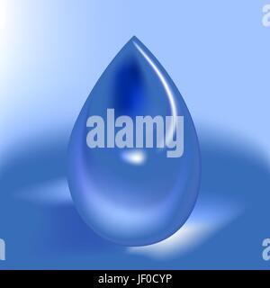 Drop, normale, l'eau, goutte à goutte, gouttes, suintant, sopping, de l'égouttement, teardrop, bleu, Banque D'Images