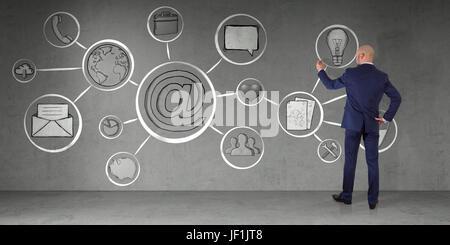 En homme d'intérieur moderne interface multimédia dessin croquis sur un mur 3D Rendering