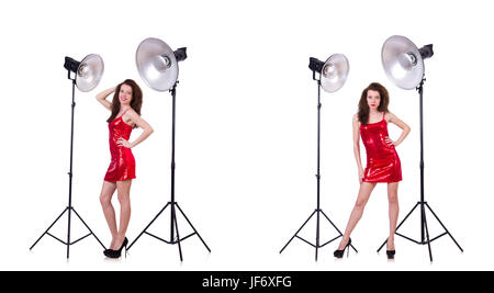 Woman wearing red dress isolated on white Banque D'Images