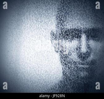 Visage Homme mélangé avec chiffres de code binaire. Concept de hacker, codage, programmation, la protection des Banque D'Images