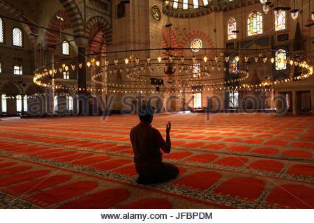 Un homme prie l'intérieur de la Mosquée Bleue. Banque D'Images