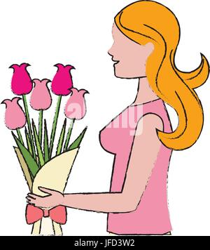 Cartoon femme avec fleur bouquet Banque D'Images