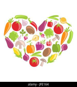 Illustration Set légumes colorés en forme de coeur - Banque D'Images