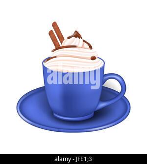 Illustration réaliste Photo tasse de crème et chocolat bois isolé sur fond blanc - Banque D'Images