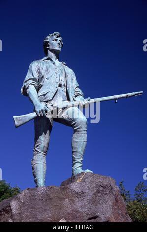 Le Capitaine Parker statue sur la bataille de Lexington Green, Green, Lexington, Massachusetts