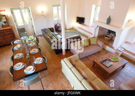 Vue aérienne d'une salle de séjour et salle à manger Banque D'Images