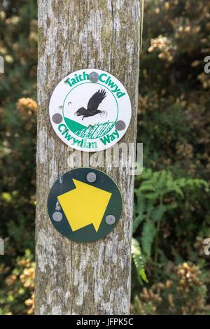 Clwydian signe ainsi sur sentier jusqu'Dinas Bran, Llangollen, Denbighshire, Wales, UK Banque D'Images