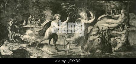 Pan et Siringe, fresque par Giulio Romano, Farnesina Palace, Rome, Italie Banque D'Images