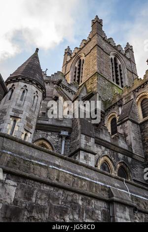 La Cathédrale Christ Church, la cathédrale de la Sainte Trinité, édifice en style gothique à Dublin, Irlande Banque D'Images