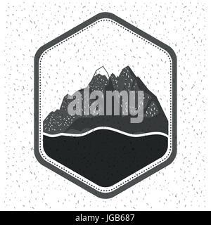 Fond blanc avec éclat de silhouette monochrome emblème avec vue sur la montagne et la rivière