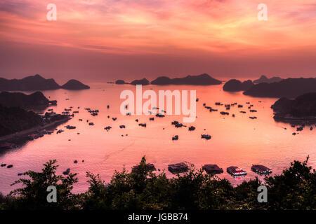 Incroyable coucher du soleil avec des bateaux sur la baie de Cat Ba Banque D'Images