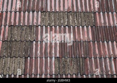 Vieilles maisons au toit de fer galvanisé à région des bidonvilles de Manille, aux Philippines. Banque D'Images