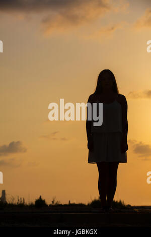 Silhouette of a woman standing outdoors at sunset Banque D'Images