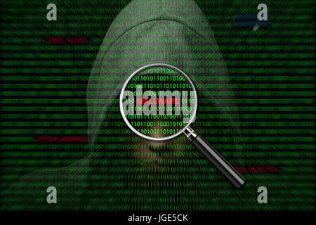 Hacker sur un écran avec un code binaire et les messages d'avertissement mallware