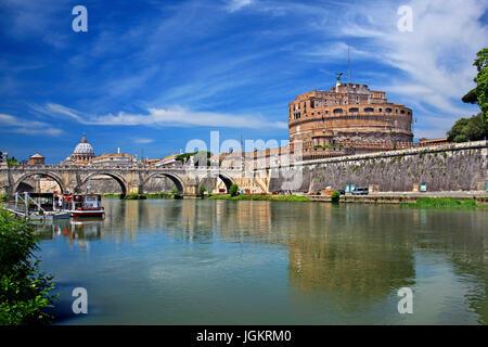 Tibre, Ponte Sant'Angelo et de Castel Sant'Angelo, Rome, Italie Banque D'Images
