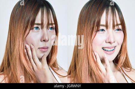 Portrait of Asian woman entre avant et après soin visage Banque D'Images