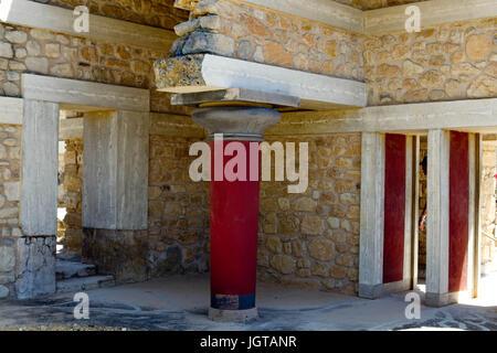 L'entrée sud du palais minoen de Knossos, Crete Banque D'Images