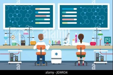 Les scientifiques des laboratoires vector illustration. Laboratoire chimique intérieur avec femme et homme médecin chercheur concept expérience