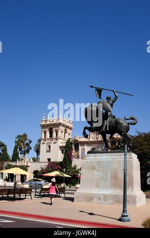 El Cid statue, maison d'accueil, Balboa Park, San Diego, Californie Banque D'Images