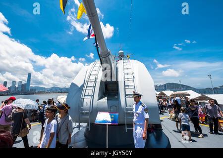 La base navale de Ngong Shuen Chau, Hong Kong - 9 juin 2017: (152) Jinam nombre missiles visité Hong Kong et a été ouvert au public.