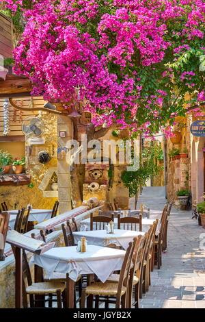 Restaurant dans la vieille ville de Chania, fleurs de bougainvilliers en fleurs, l'île de Crète, Grèce