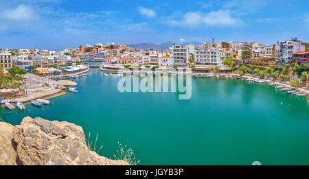 Lac Voulismeni, Agios Nikolaos, Crète, Grèce Banque D'Images
