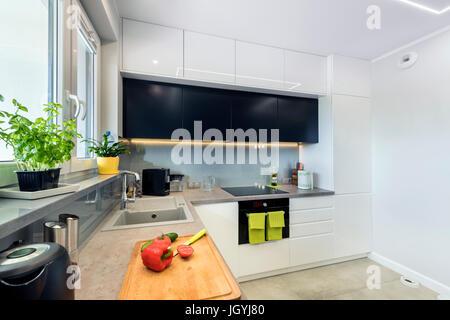 Cuisine moderne design intérieur en finition blanc et noir Banque D'Images